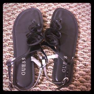 Guess Floral Black Flat Sandals